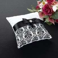 Black Damask Wedding Ring Cushion